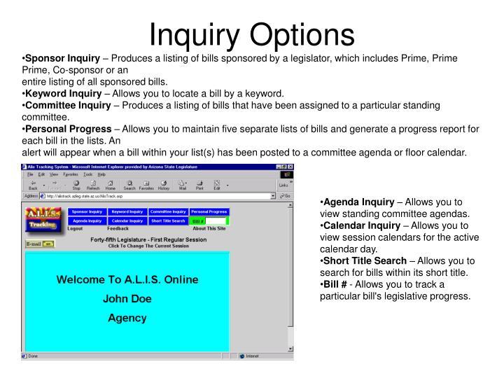 Inquiry Options