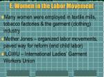 e women in the labor movement