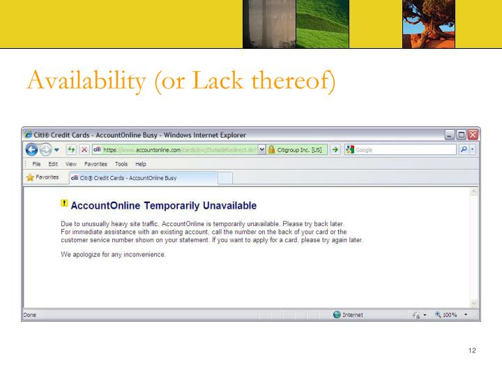 Availability (or Lack thereof)