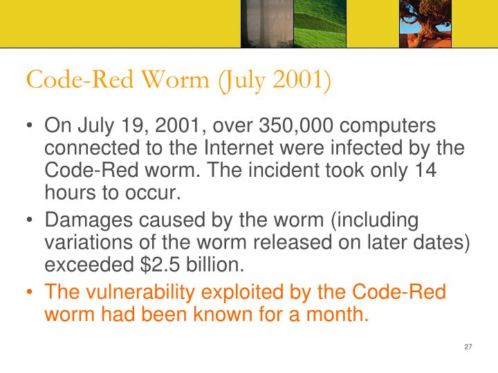 Code-Red Worm (July 2001)