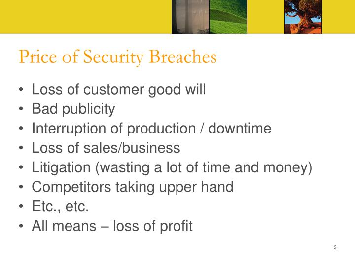 Price of security breaches