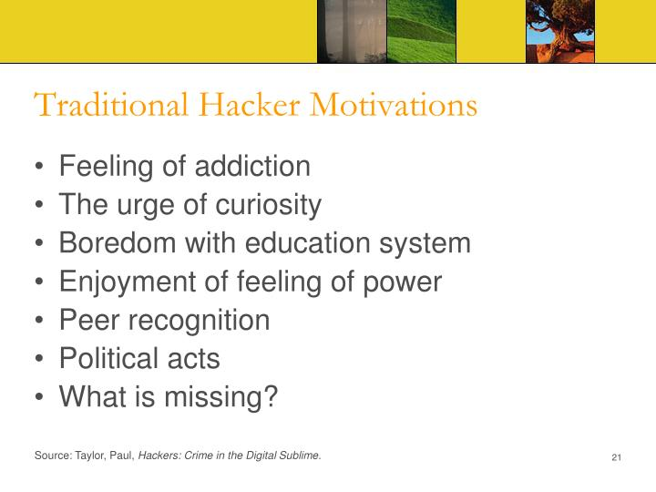 Traditional Hacker Motivations