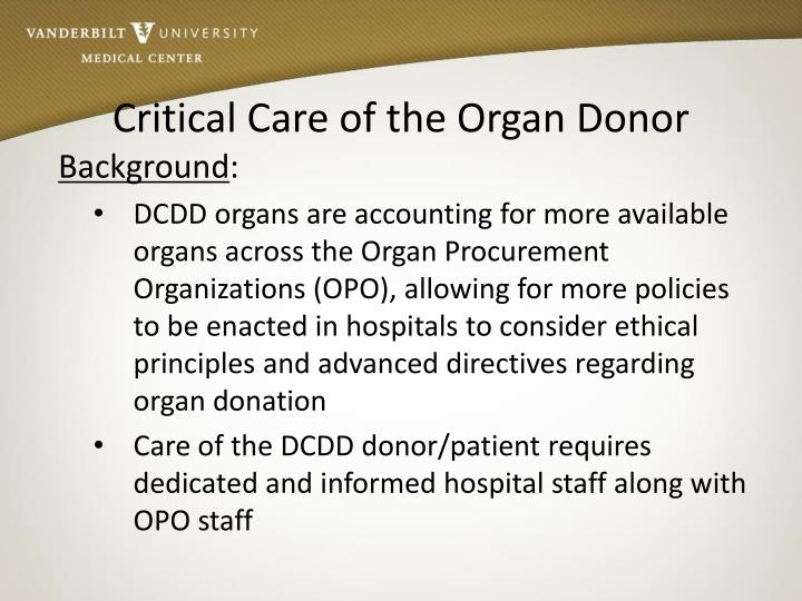 Critical Care of the Organ Donor