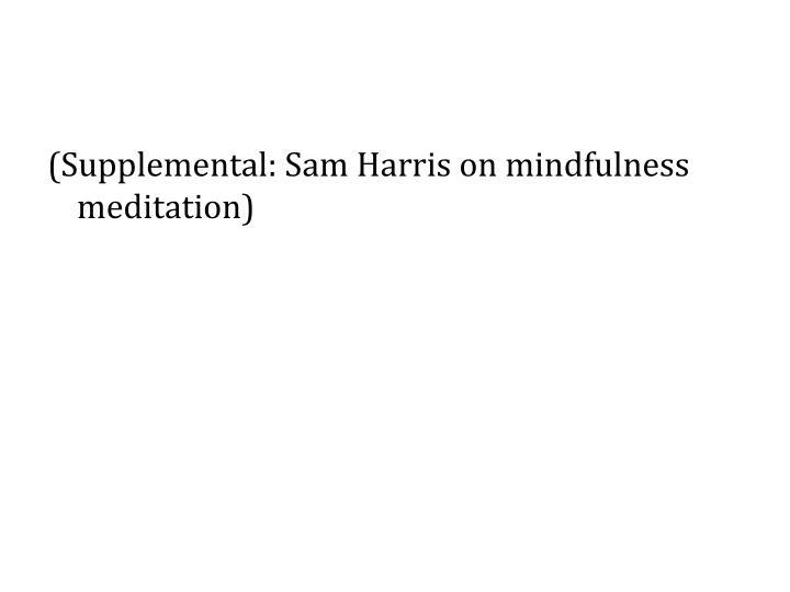 (Supplemental: Sam Harris on mindfulness meditation)