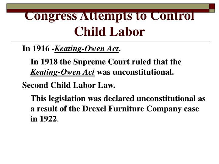 Congress Attempts to Control Child Labor