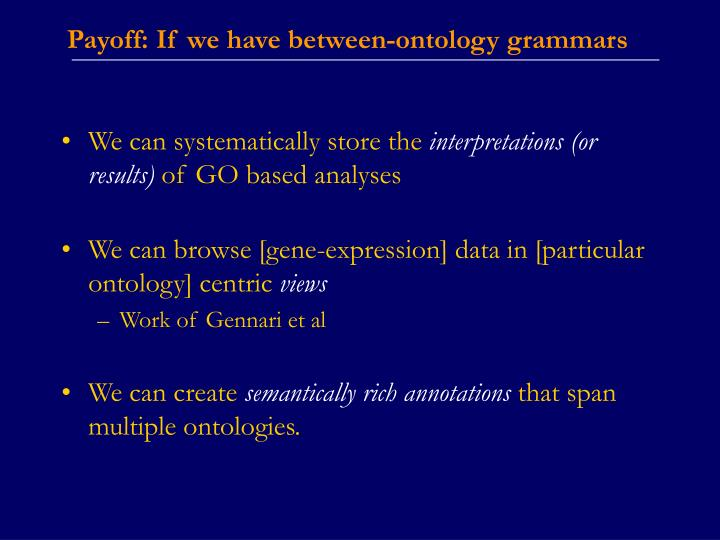 Payoff: If we have between-ontology grammars