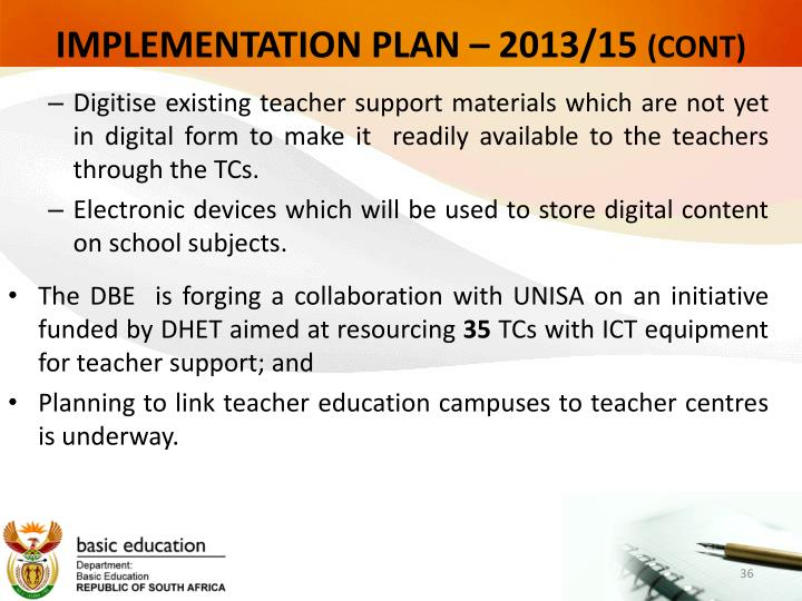 IMPLEMENTATION PLAN – 2013/15