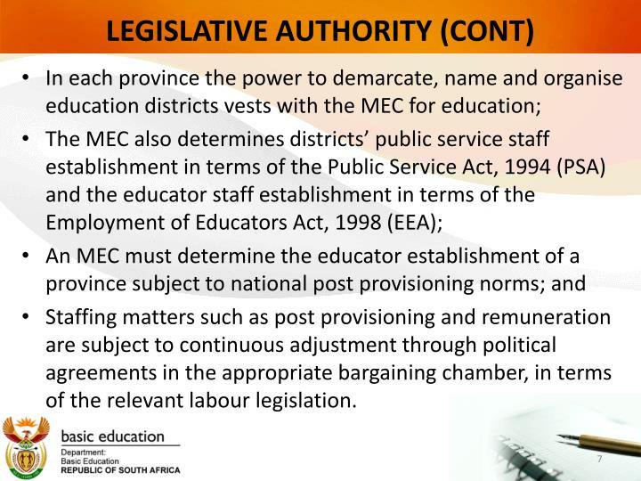 LEGISLATIVE AUTHORITY (CONT)