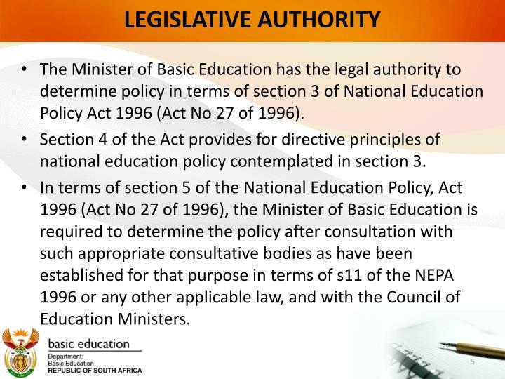 LEGISLATIVE AUTHORITY