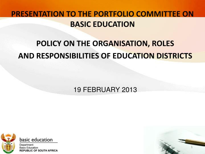 Presentation to the portfolio committee on basic education