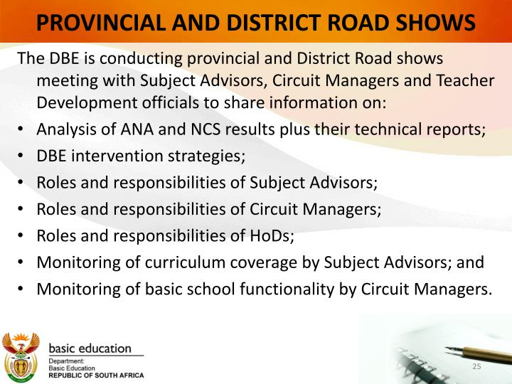 PROVINCIAL AND DISTRICT ROAD SHOWS