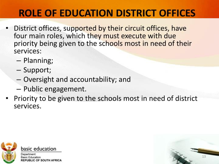 ROLE OF EDUCATION DISTRICT OFFICES