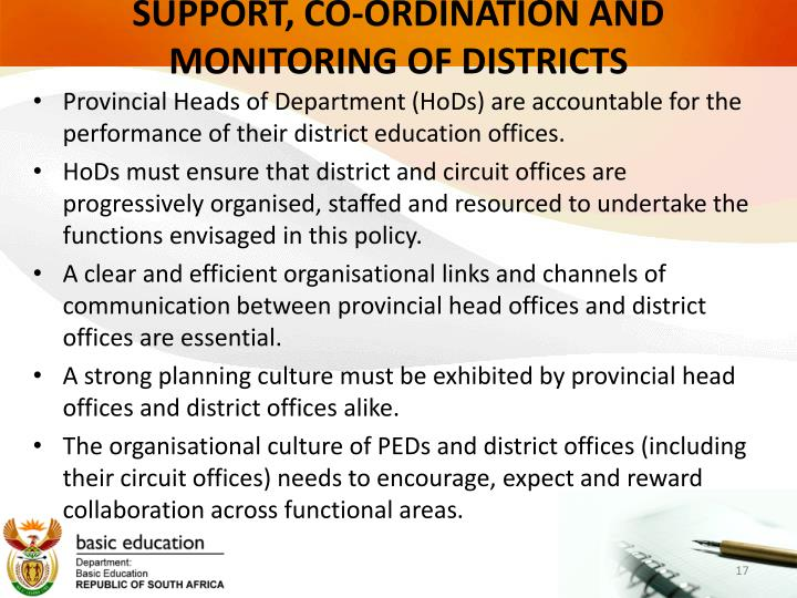 SUPPORT, CO-ORDINATION AND MONITORING OF DISTRICTS