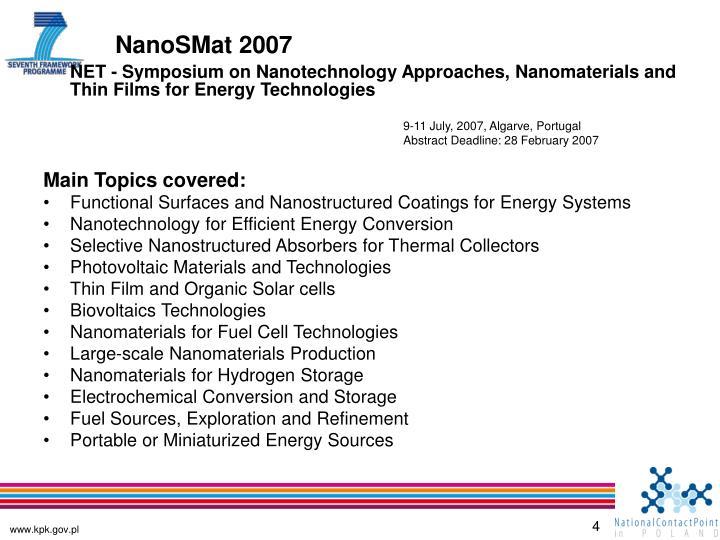 NanoSMat 2007