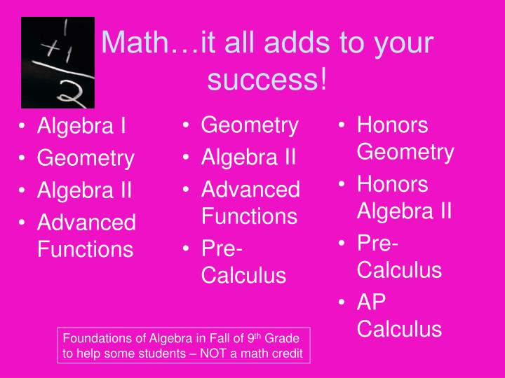Math…it all adds to your success!