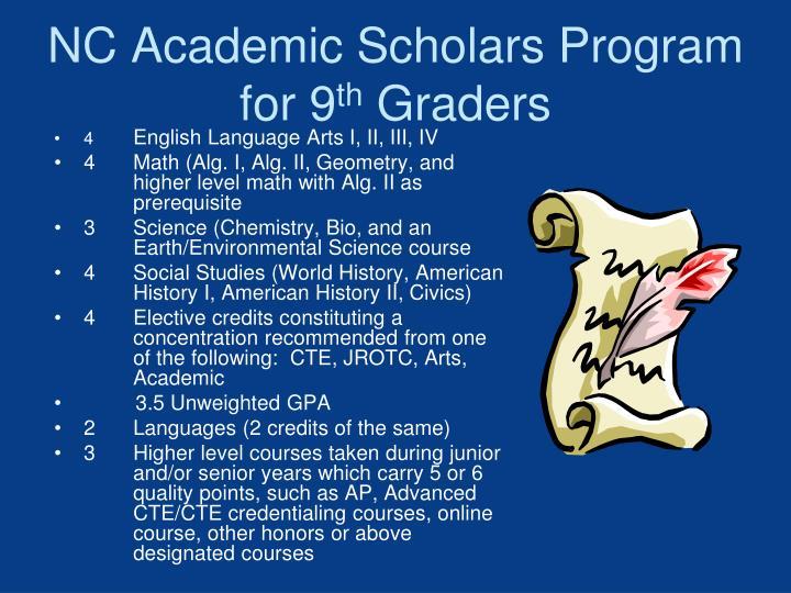 NC Academic Scholars Program for 9