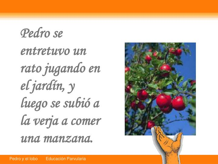 Pedro se entretuvo un rato jugando en el jardn, y luego se subi a la verja a comer una manzana.