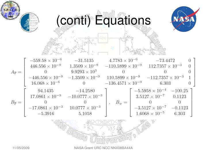 (conti) Equations