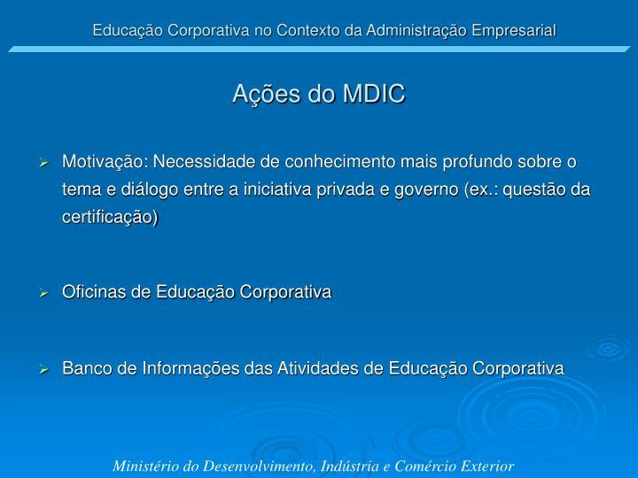 Ações do MDIC