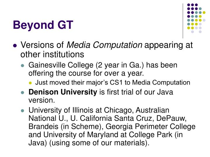 Beyond GT