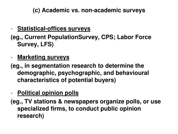 (c) Academic vs. non-academic surveys