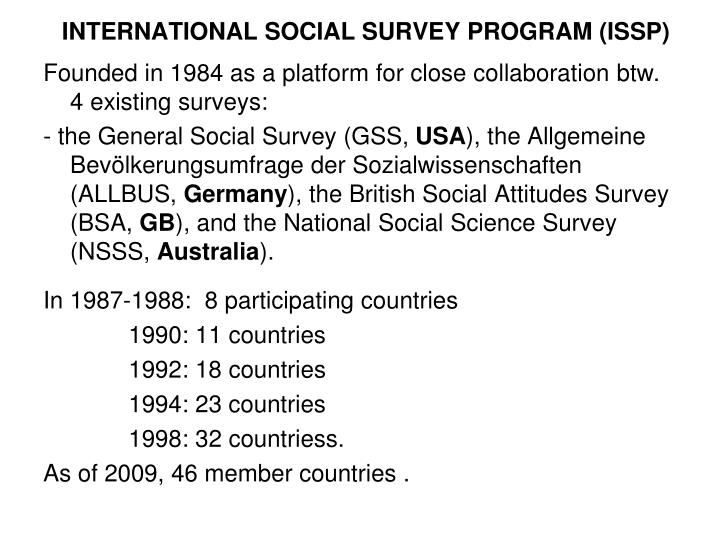 INTERNATIONAL SOCIAL SURVEY PROGRAM (ISSP)