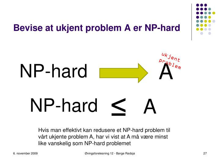 Bevise at ukjent problem A er NP-hard