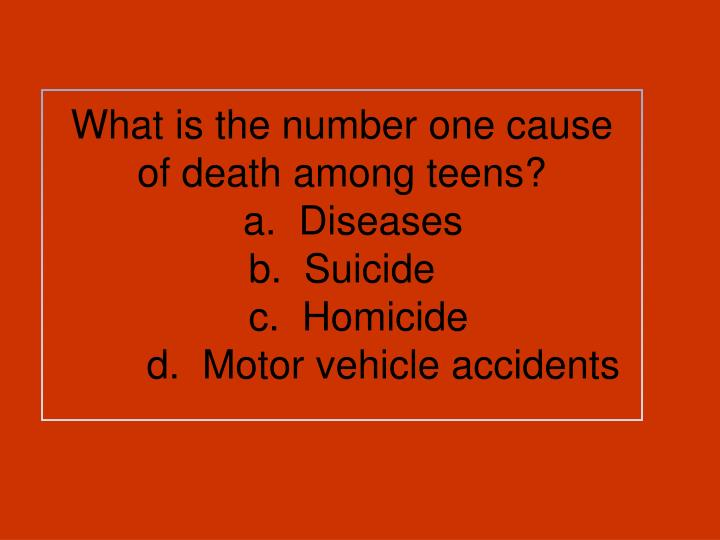 What is the number one cause of death among teens?