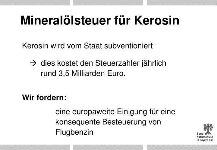Mineralölsteuer für Kerosin