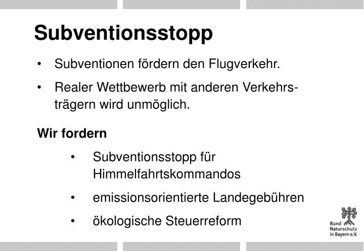 Subventionsstopp