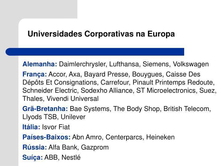 Universidades Corporativas na Europa