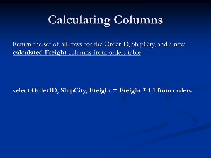 Calculating Columns