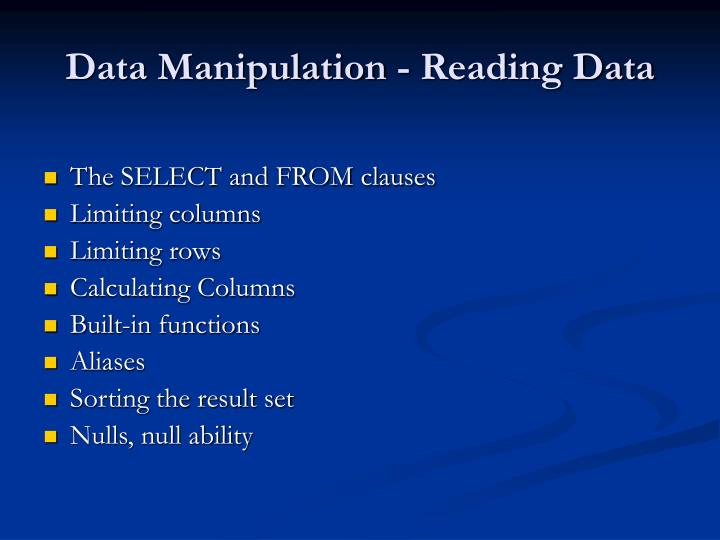 Data Manipulation - Reading Data