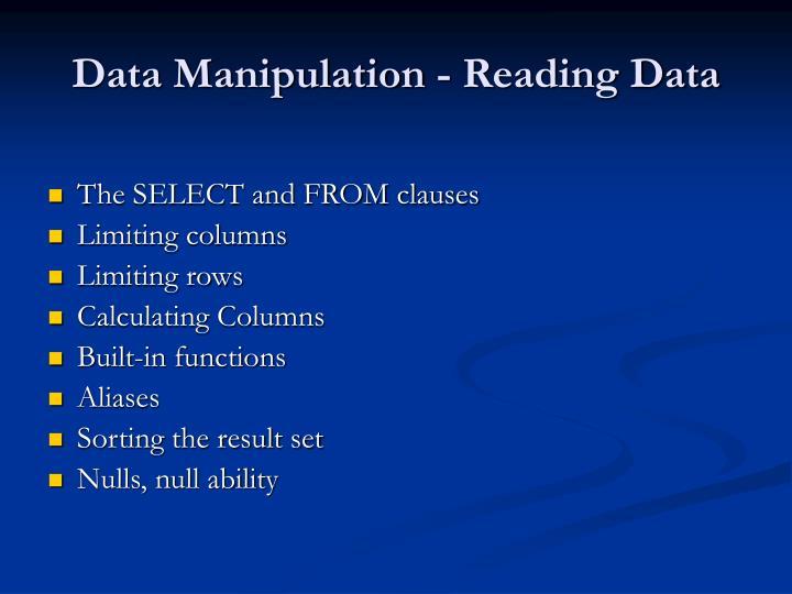 Data Manipulation - Reading Data