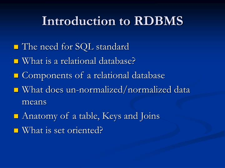 Introduction to RDBMS