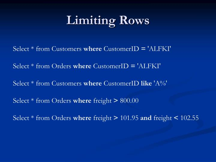 Limiting Rows