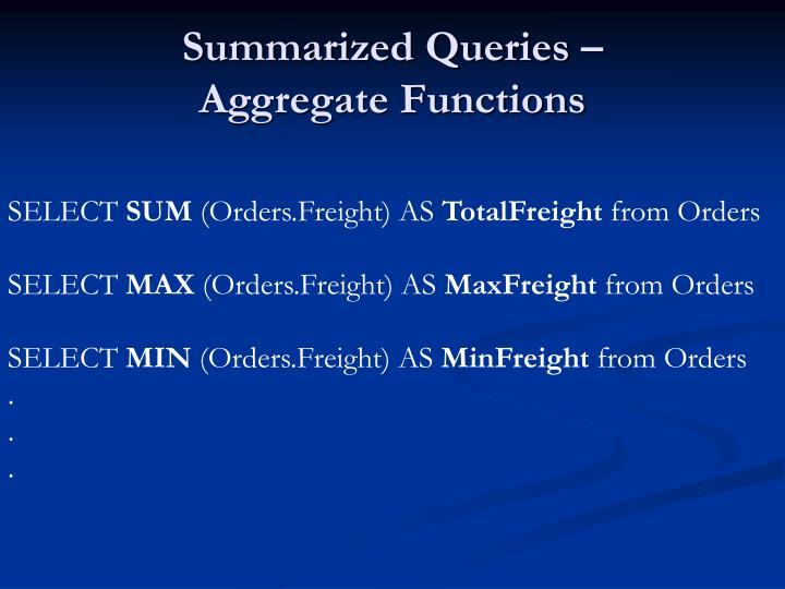 Summarized Queries –