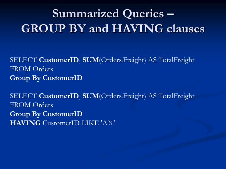 Summarized Queries –
