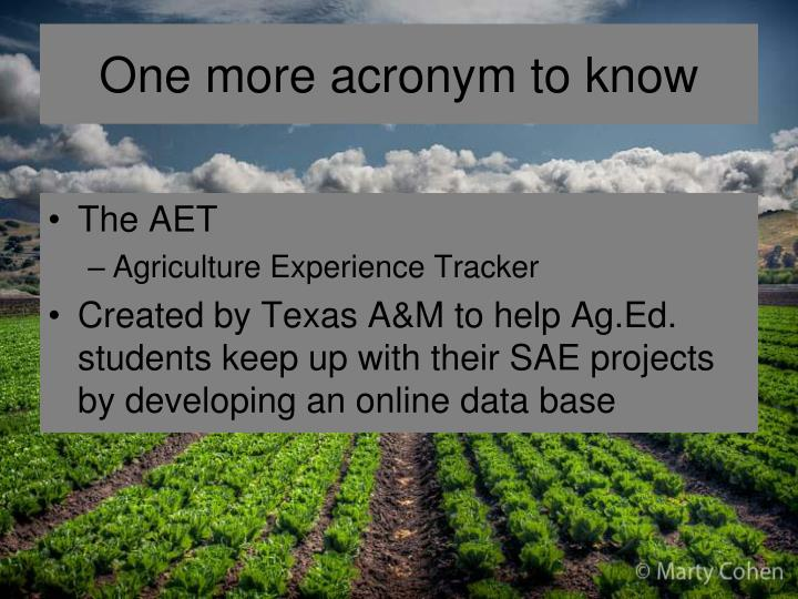 One more acronym to know