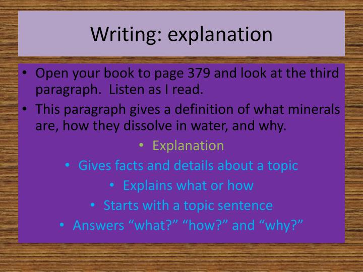 Writing: explanation