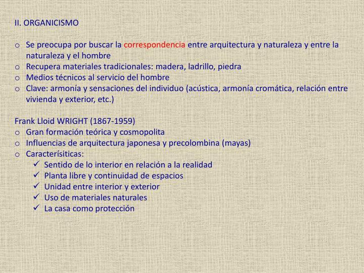 II. ORGANICISMO