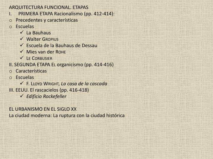 ARQUITECTURA FUNCIONAL. ETAPAS