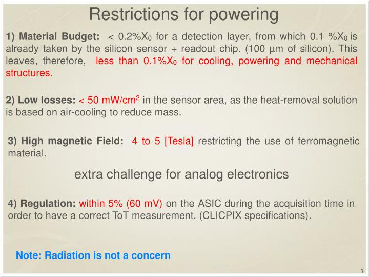 Restrictions for powering