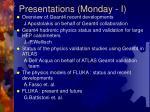 presentations monday i