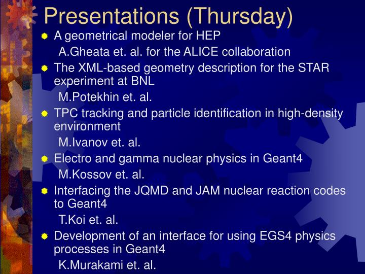 Presentations (Thursday)