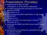 presentations thursday
