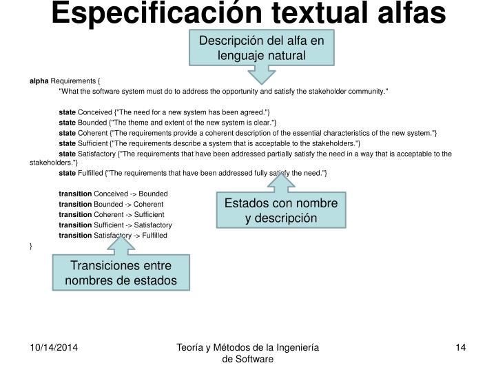 Especificación textual alfas