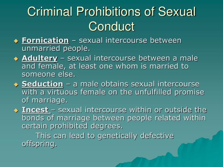Criminal Prohibitions of Sexual Conduct