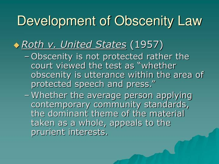 Development of Obscenity Law