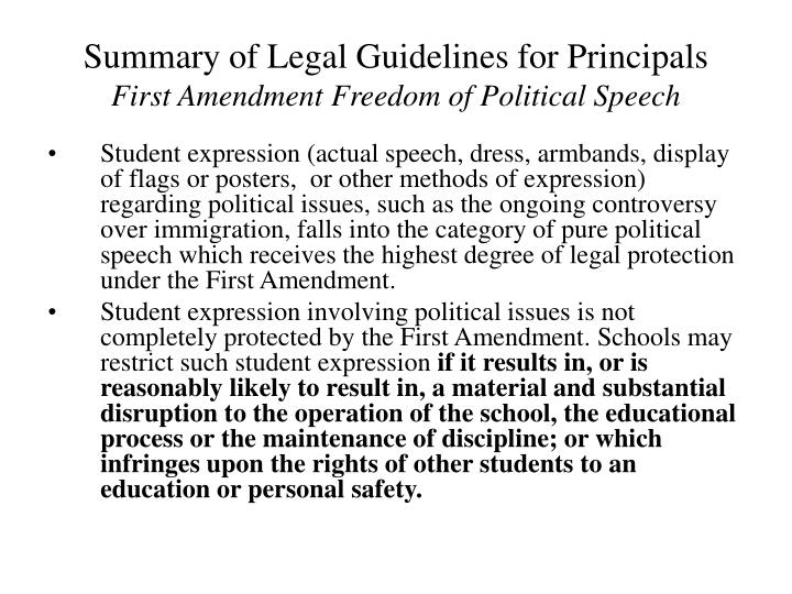 Summary of Legal Guidelines for Principals